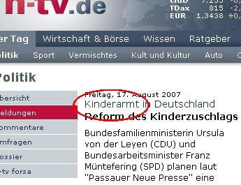 Rechtschreibfehler auf N-TV.de